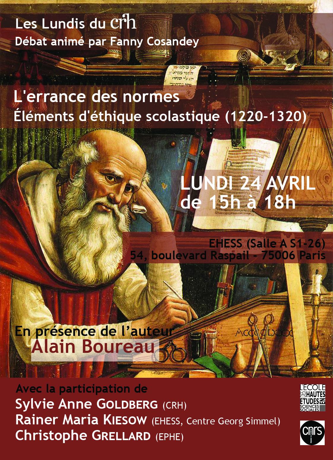 Autour de l'ouvrage d'Alain Boureau, L'errance des normes. Éléments d'éthique scolastique (1220-1320) [La Raison scolastique IV]
